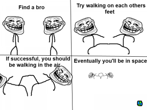 TrollFace- How to walk in space?