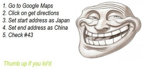 Google Maps Troll &#8211; Japan to China