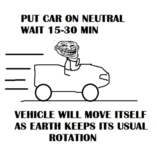 trollface, troll science, vehicule move itself