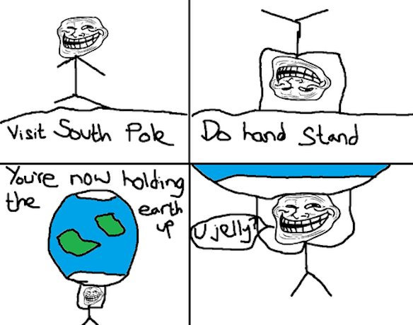 Hold the earth up - Troll Science - Troll physics