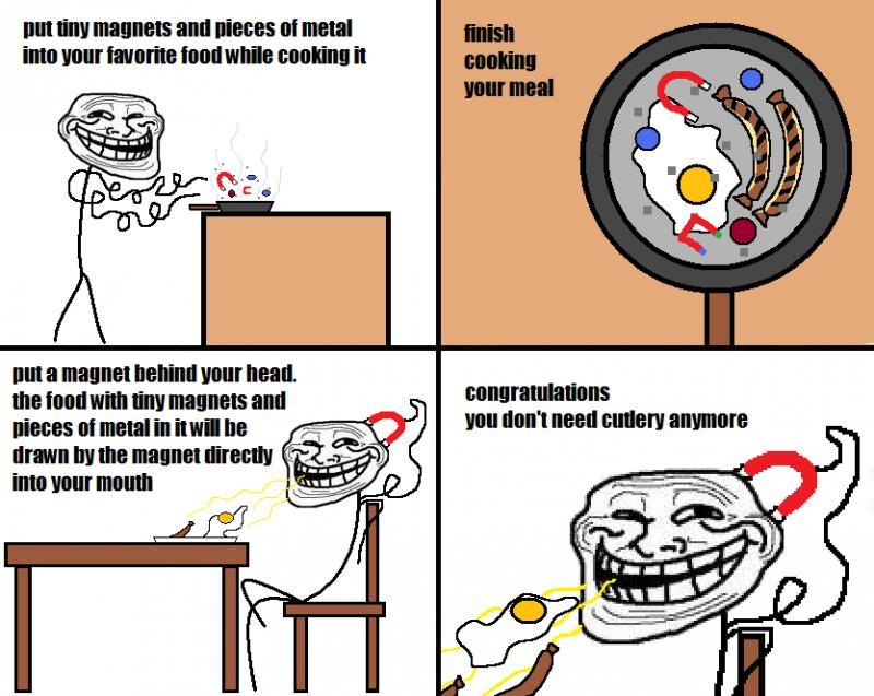 Eat with no cutlery – Troll Science, Troll Physics