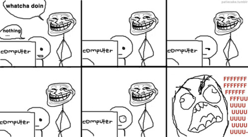 Watcha doin on your computer? Troll Face