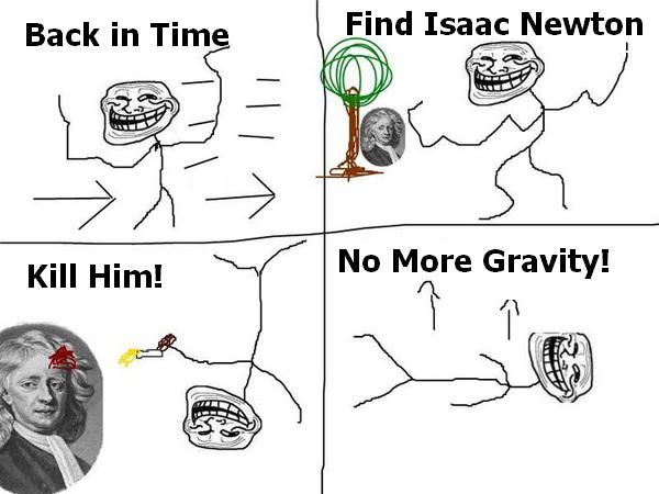 Back in Time, find Newton - Troll Science - Troll Physics