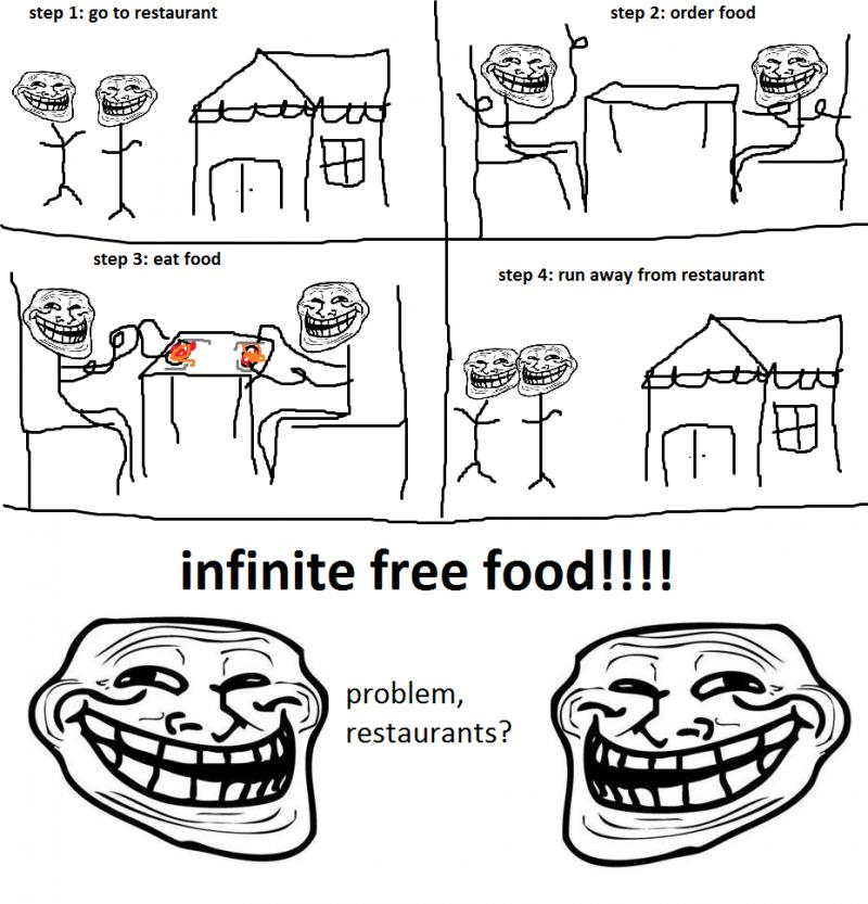 Infinite free foods - Troll Science - Troll Physics - Problem restaurant?