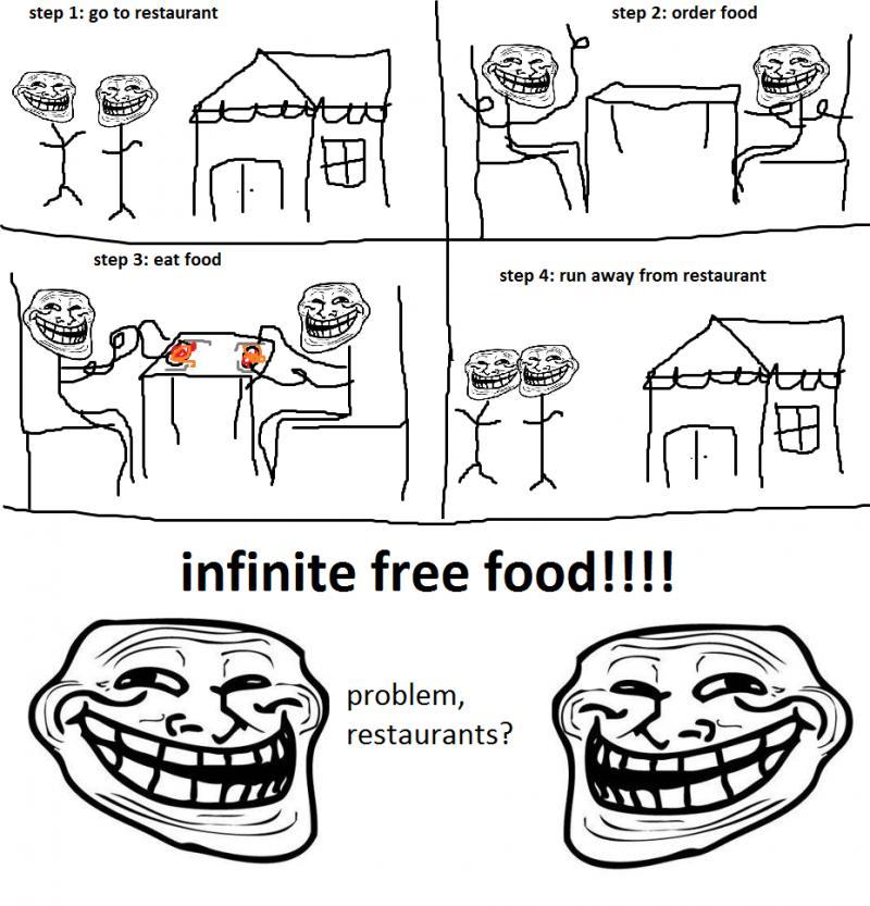 Infinite free foods - Troll Science - Troll Physics - Problem restaurant?
