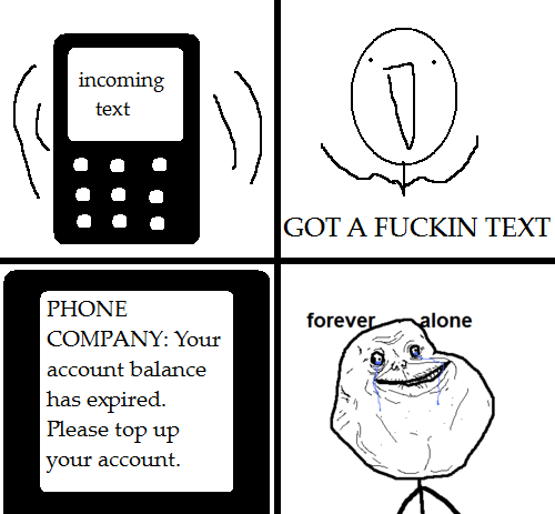 Incoming text - forever alone