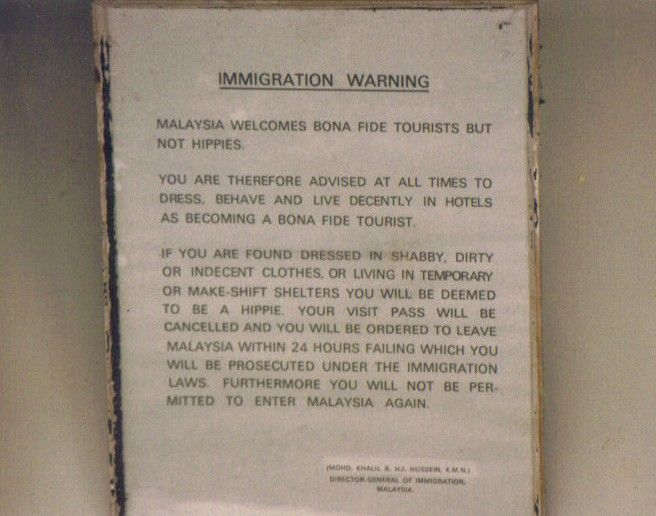 Malaysia Immigration Warning - No hippies