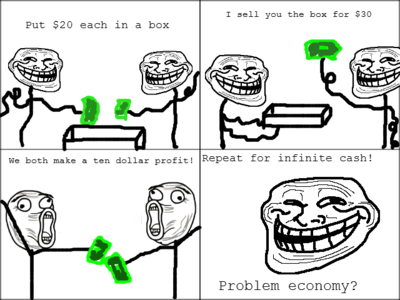 Troll Science - Infinite ca$h - Problem economy?